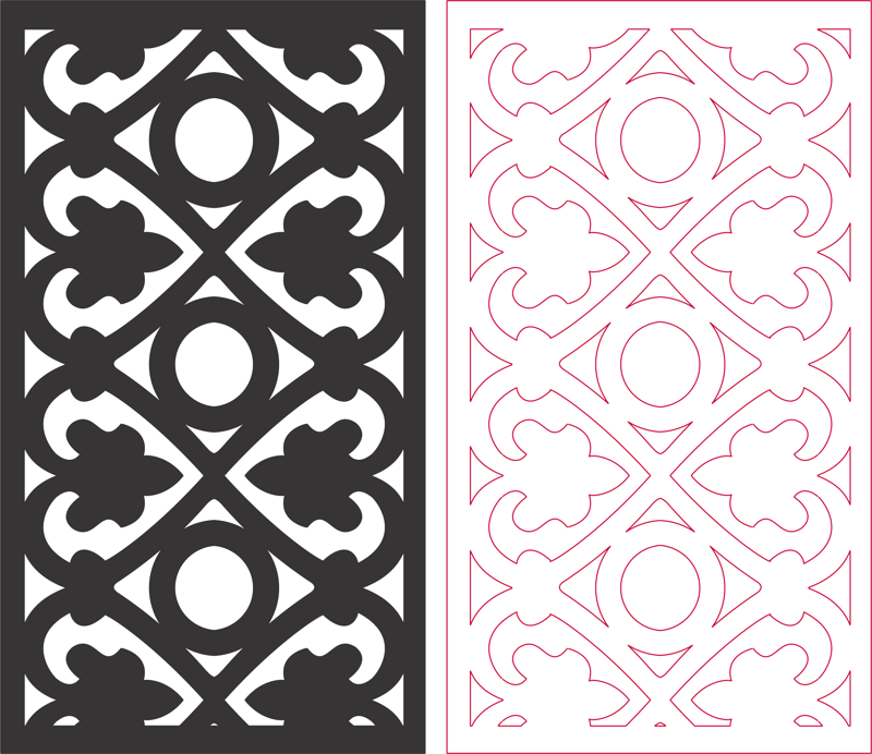 Partition screen carved pattern DXF File