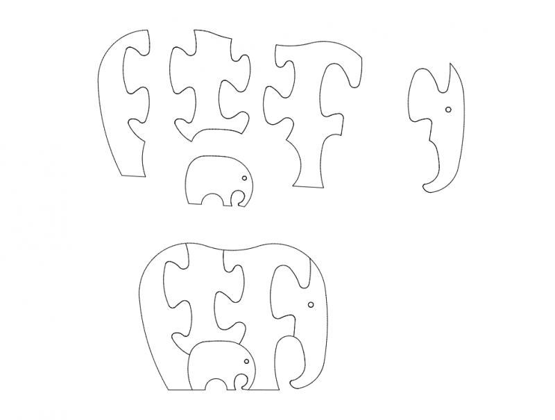 słoń (Elephant Jigsaw Puzzles) dxf File