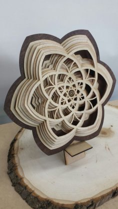 Layered Wooden Sculptures Flower DXF File