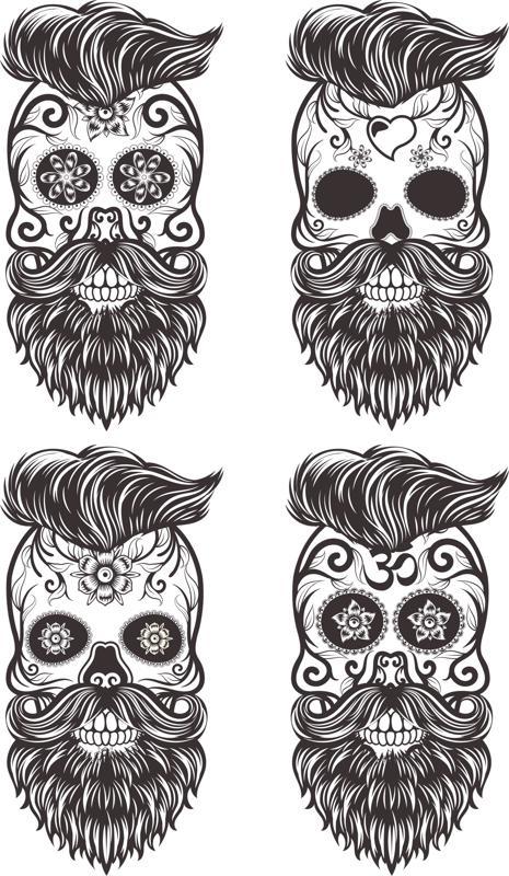 Painted Bearded Mustache Skull Free Vector