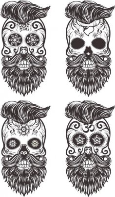 Painted Bearded Mustache Skull Free Vector