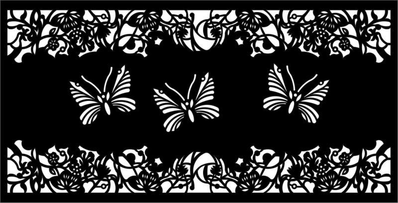 Butterfly Flower Screen Room Divider EPS File