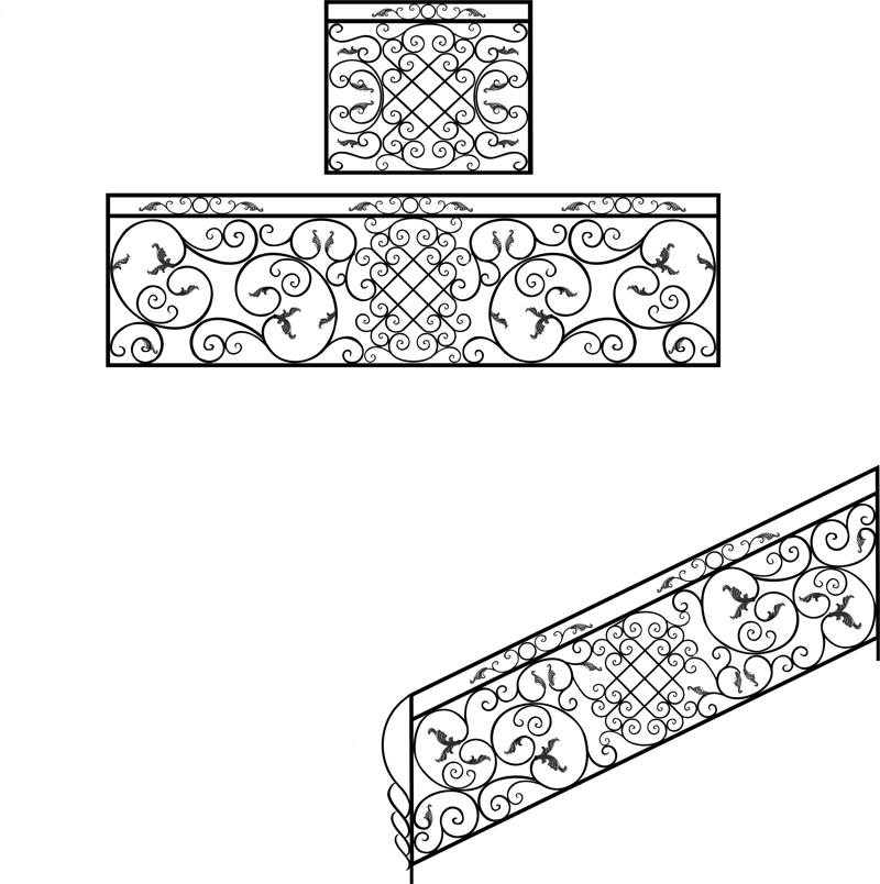 Wrought Iron Stair Railing Design Free Vector