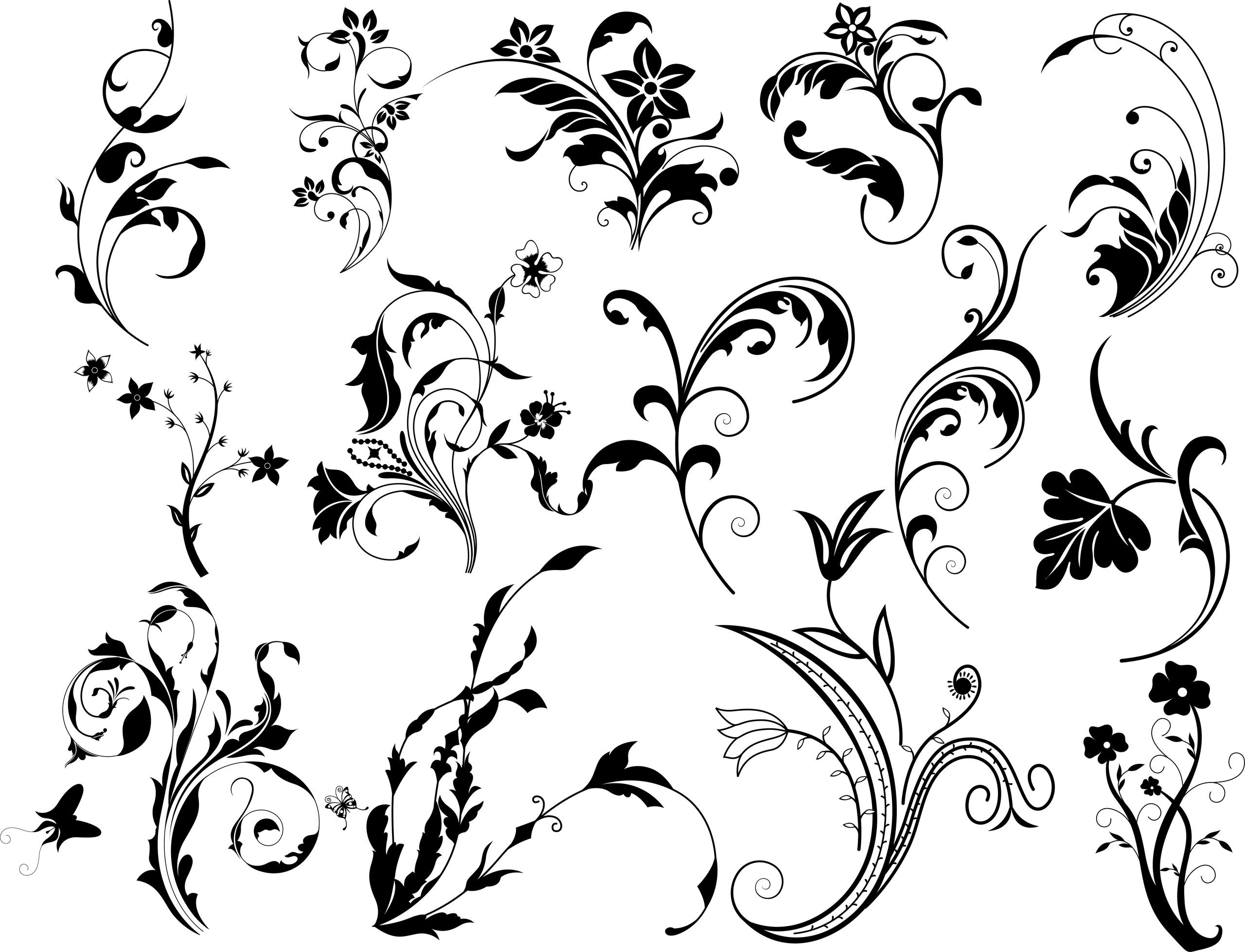Swirl Floral Vectors Set Free Vector