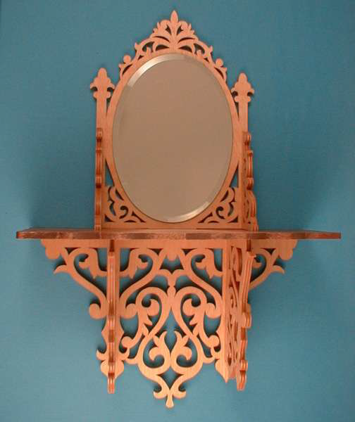Oval Mirror Shelf Scroll Saw Pattern PDF File