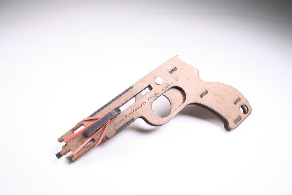Wooden Laser Cut Jenga Pistol Free Vector