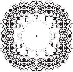 Floral Wall Clock Vector Art jpg Image