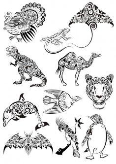 Ornament Animals Tattoo Vectors Pack Free Vector