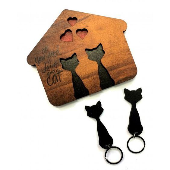 Cat shaped key holder Free Vector
