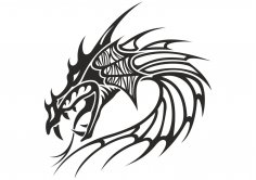 Chinese Dragon Head Tattoo Vector CDR File