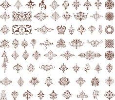 Ornamental design element vectors Free Vector