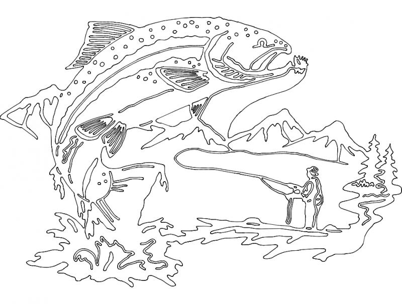 Peixe E pescador dxf File