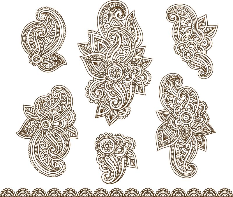 Set Mehndi Flower Pattern Henna Drawing