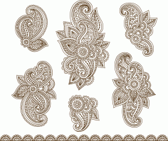 Set Mehndi Flower Pattern Henna Drawing Free Vector