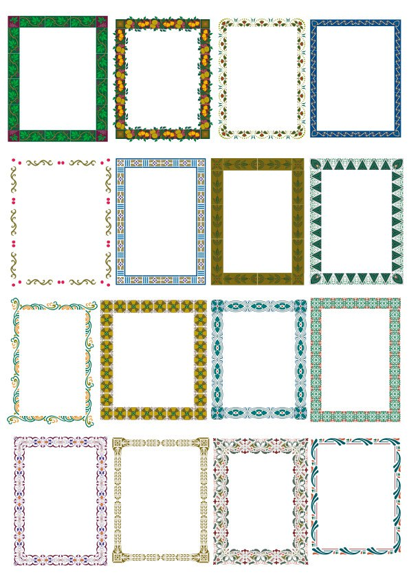 Floral Frame Border Set Free Vector