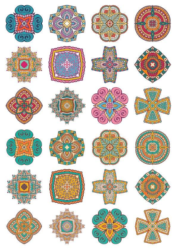 Set of Round Ornaments Mandala Vectors Free Vector