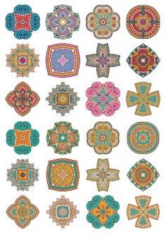 Set of Round Ornaments Mandala Vectors