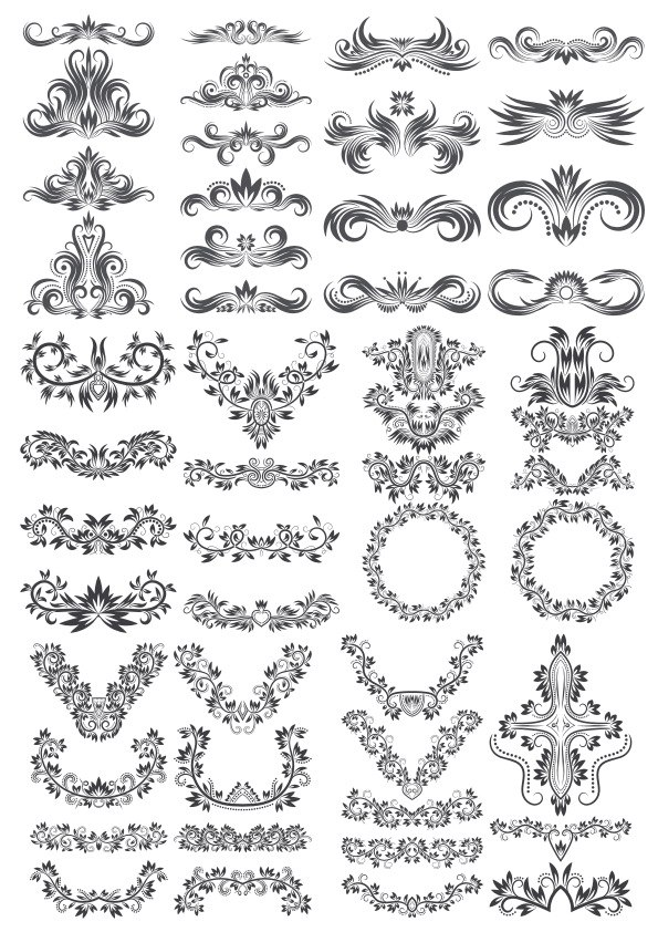 Floral Decor Elements Collection Free Vector