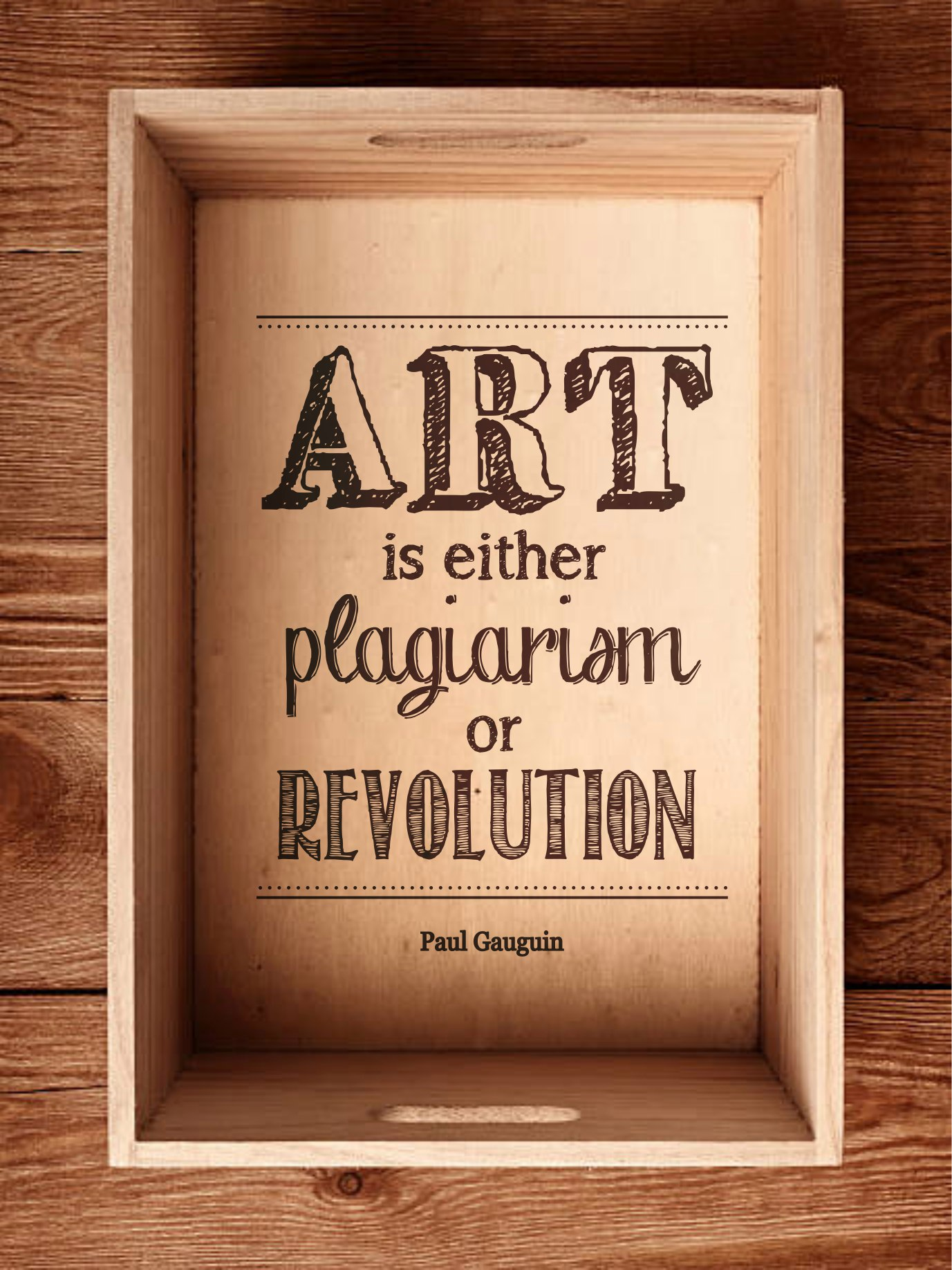 Art is either plagiarism or revolution sticker Free Vector
