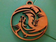 Dragon Yin Yang laser cut