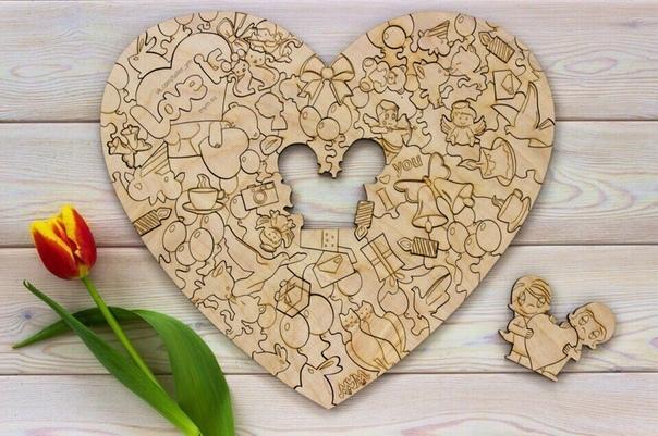Laser Cut Love Heart Shape Puzzle Free Vector