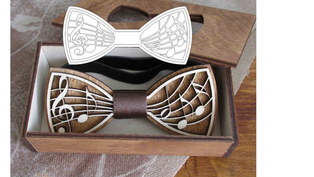 Laser Cut Wooden Bow Tie Template Free Vector