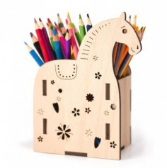 Laser Cut Horse Pen Holder Plywood Template Free Vector