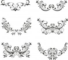 Floral Elements Vector Set Free Vector