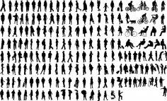 Silhouettes of Common People Free Vector