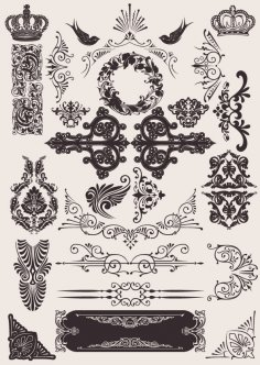 Vintage Ornament Elements Free Vector