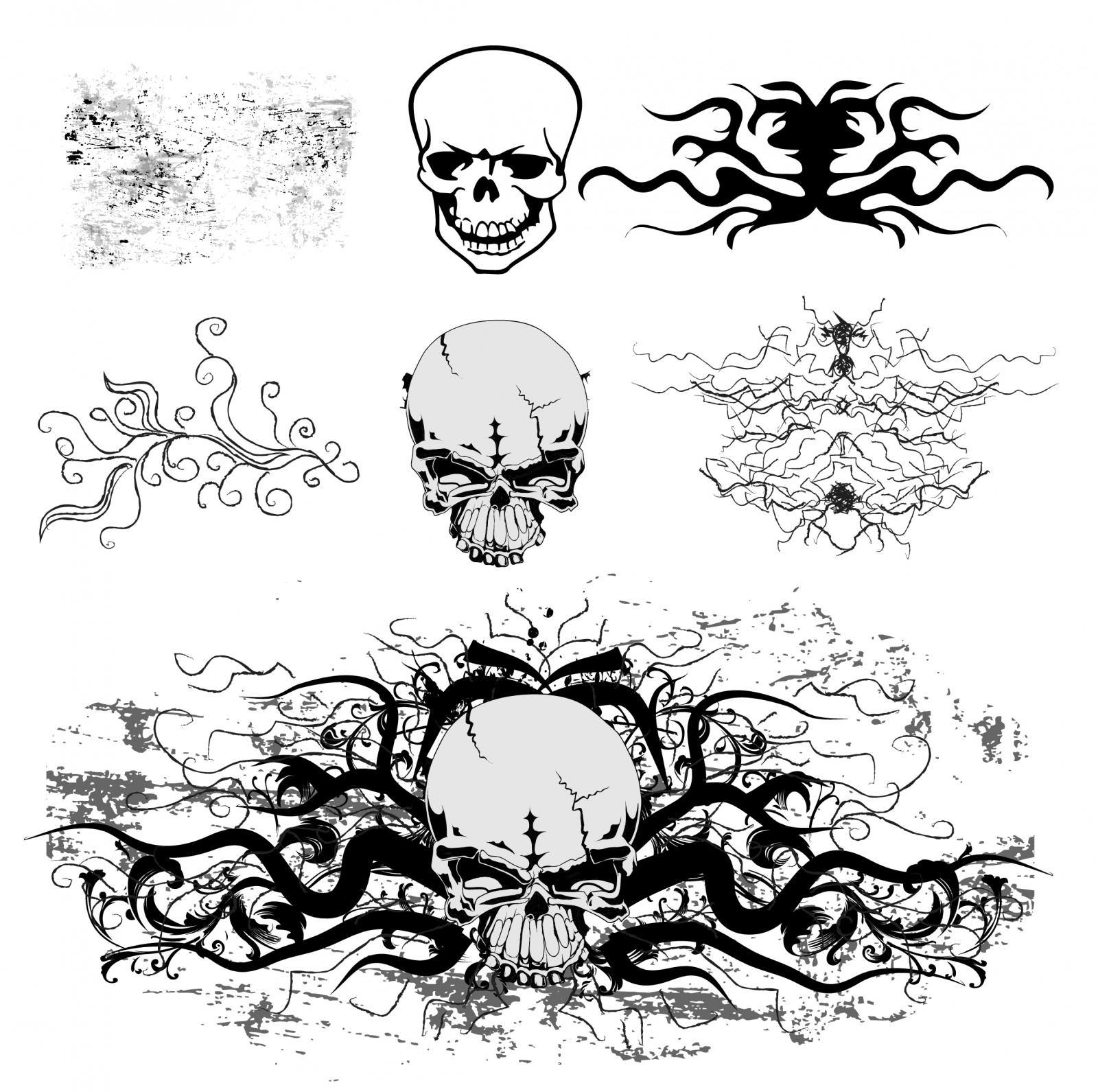 Grunge Skull Vector Art Free Vector