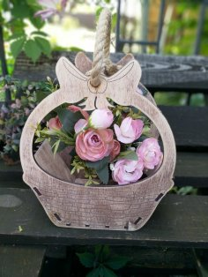 Laser Cut Basket of Plywood for Flowers Free Vector