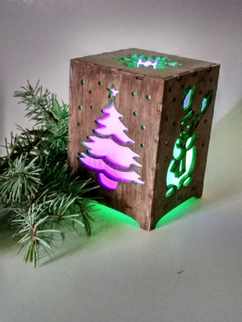 Laser Cut Christmas Night Light Box Lamp Template Free Vector