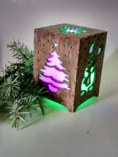 Laser Cut Christmas Night Light Box Lamp Template Free Vector