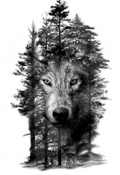 Wolf in Trees Laser Engraving Template BMP File