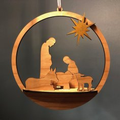 Laser Cut Merry Christmas Nativity Ornament SVG File