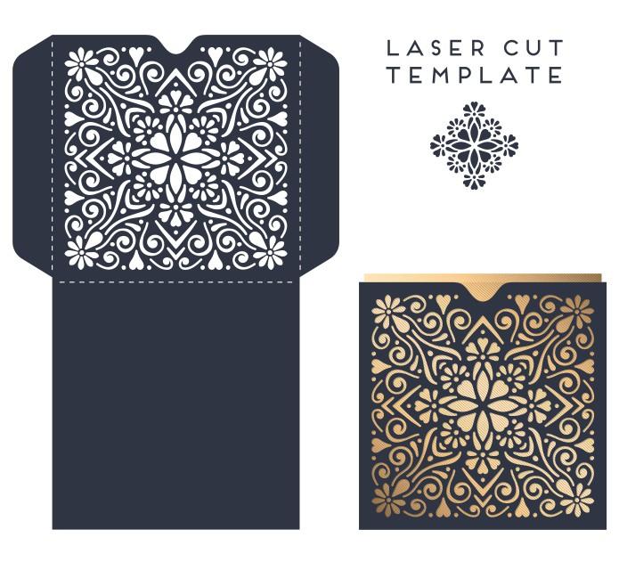 Laser Cut Wedding Invitation Card Design Template Free Vector