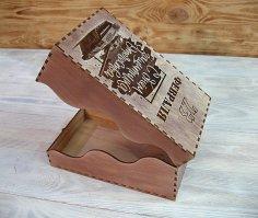 Laser Cut Wooden Wave Shape Box Free Vector