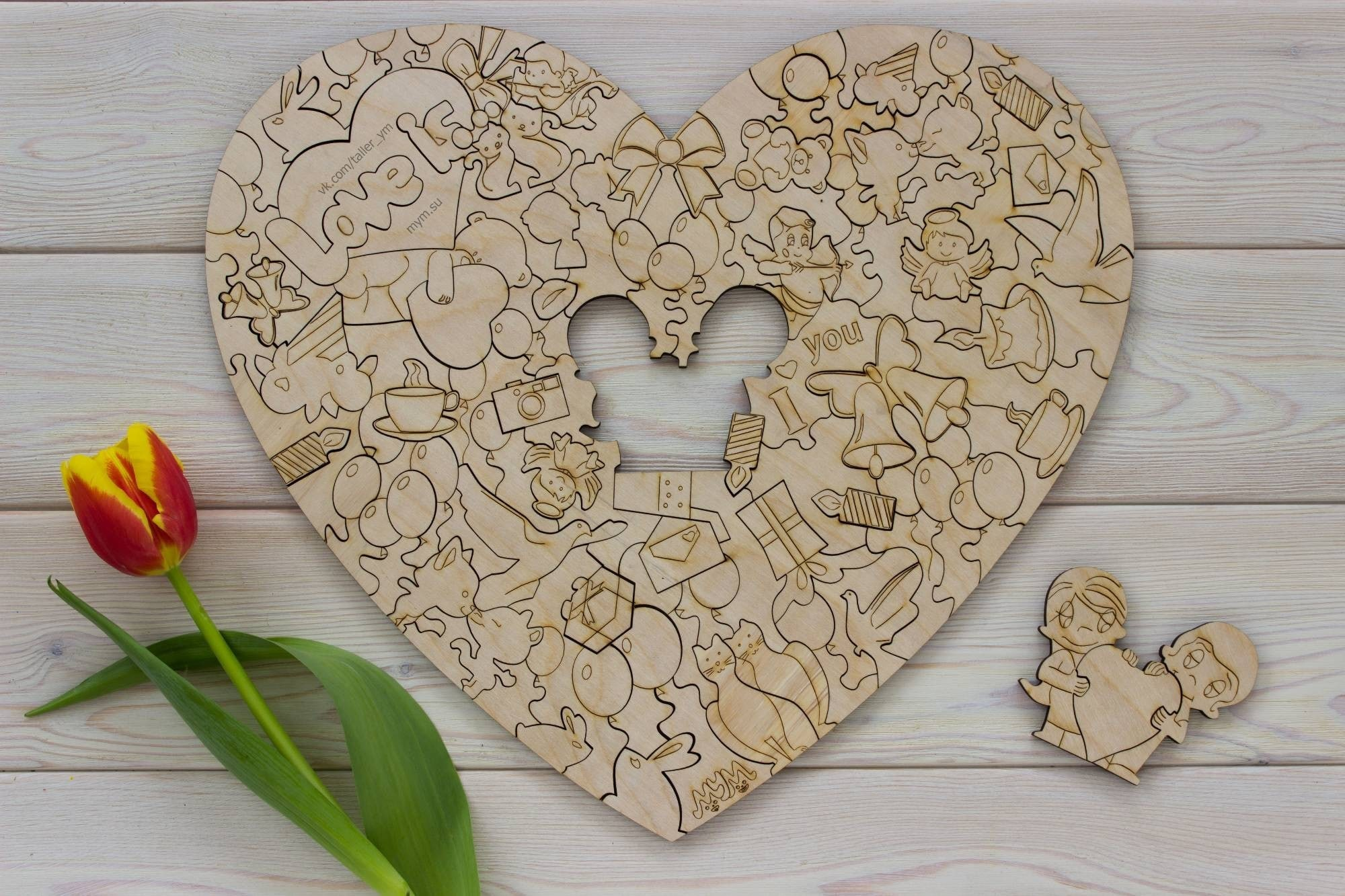Valentines Day Jigsaw Puzzle Laser Cut Engraving Free Vector