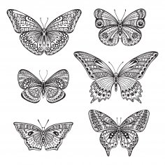 Butterfly Ornate Doodle Free Vector