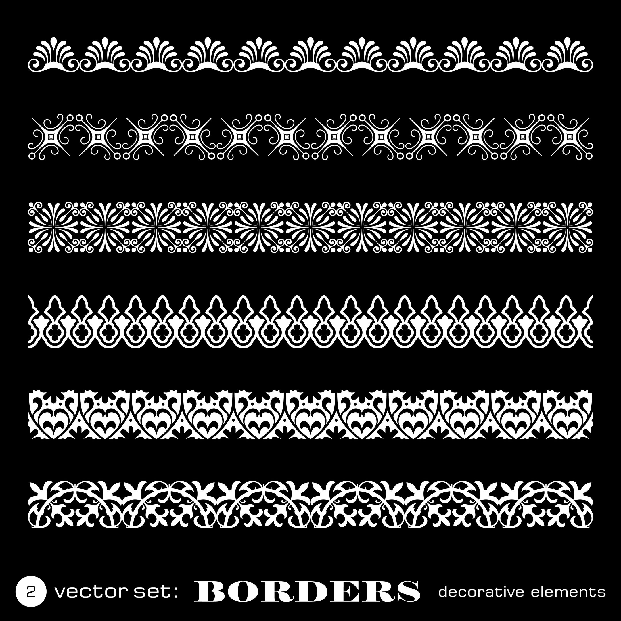Set of Floral Decorative Borders Free Vector