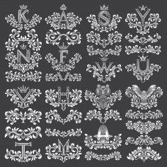 Floral Decorative Letters Vector Art EPS File