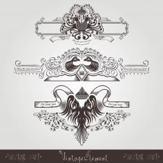 Three Vintage Engraving Banners With Different Birds And Pattern Free Vector