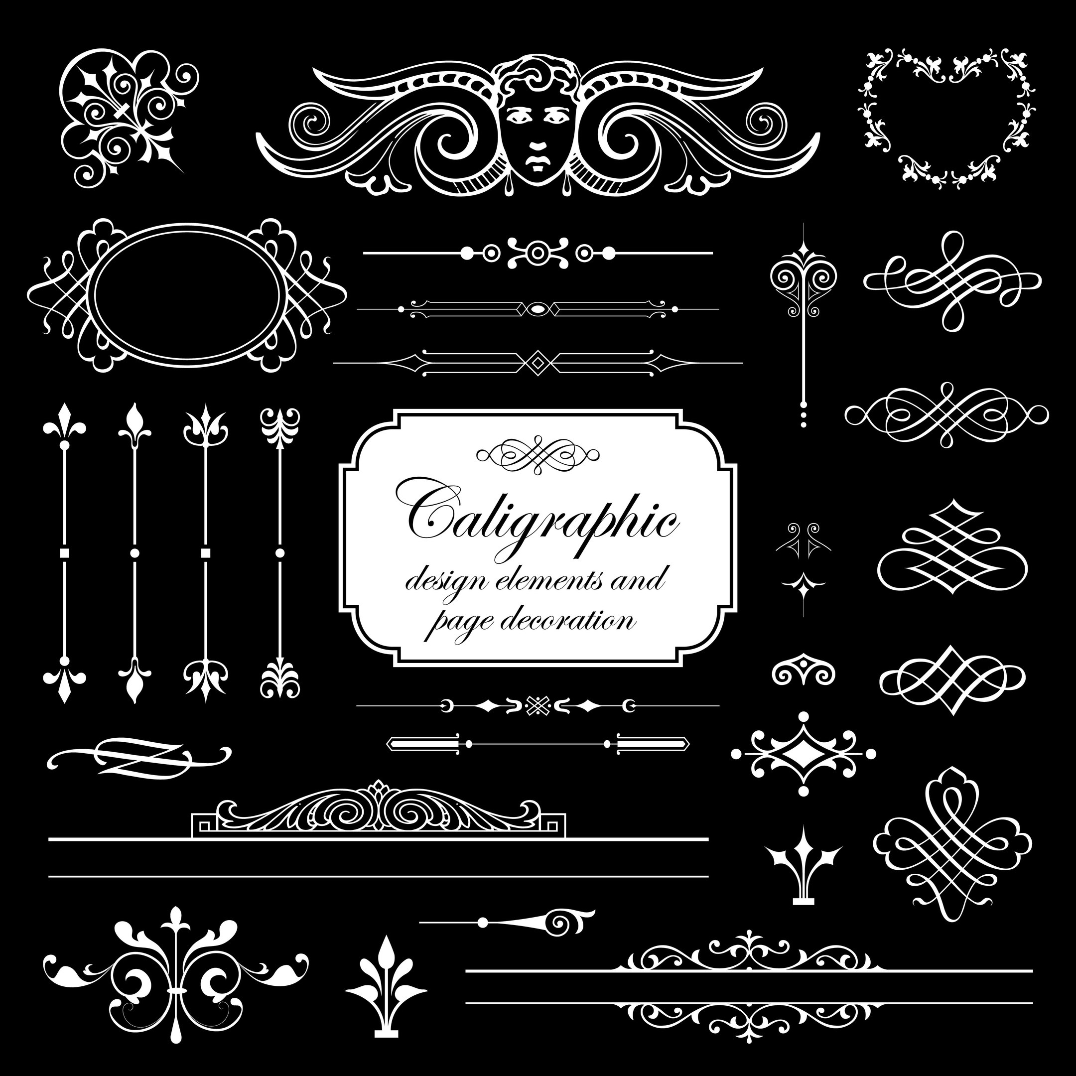 Calligraphic Design Elements And Page Decoration Vector Set Isolated On Black Background Free Vector