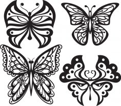 Beautiful Butterflies Monochrome Style for Tattoo Free Vector