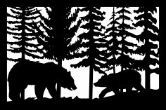 24 X 36 Bear Cub Trees Plasma Art DXF File