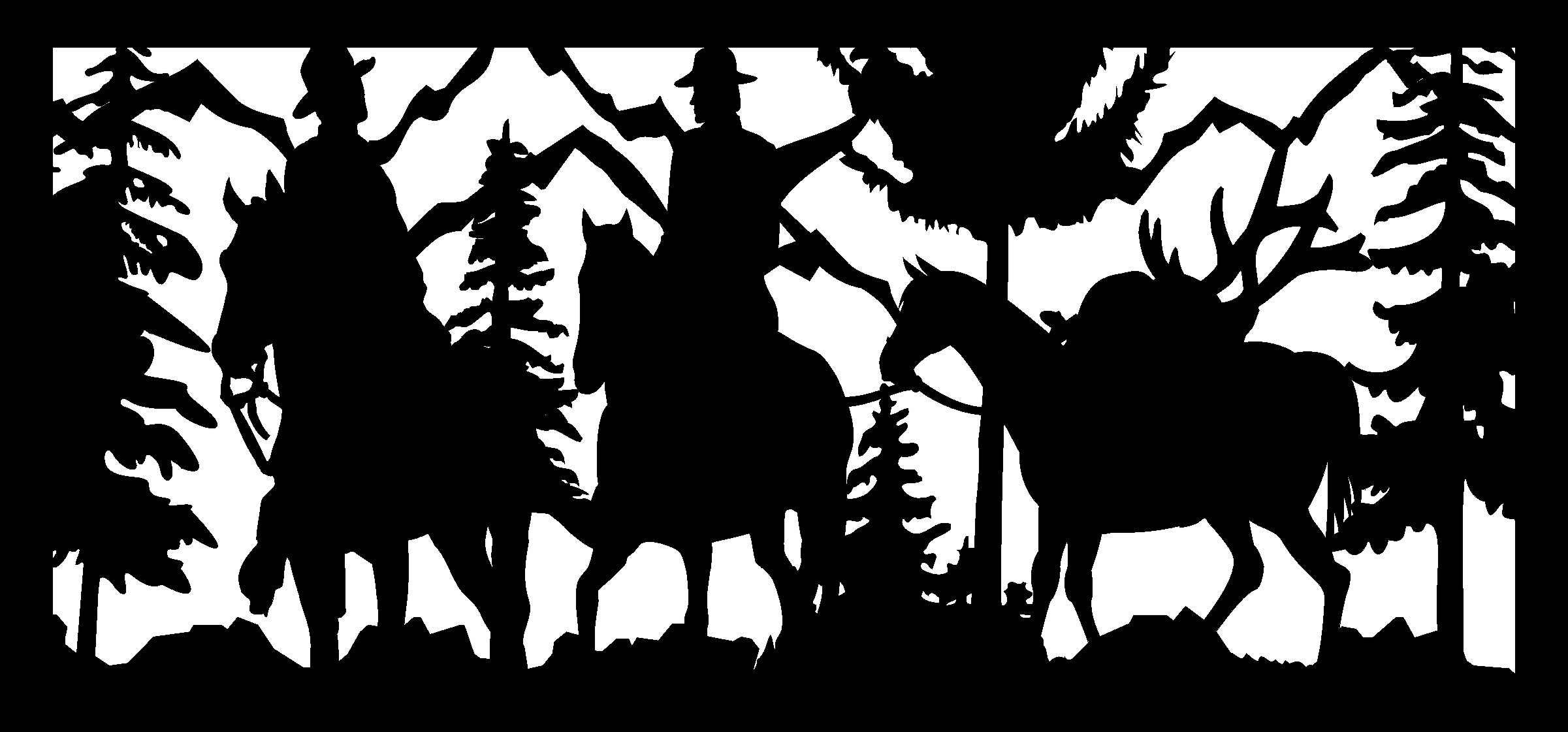 28 X 60 Two Hunters Packing Out Their Elk Plasma Art DXF File