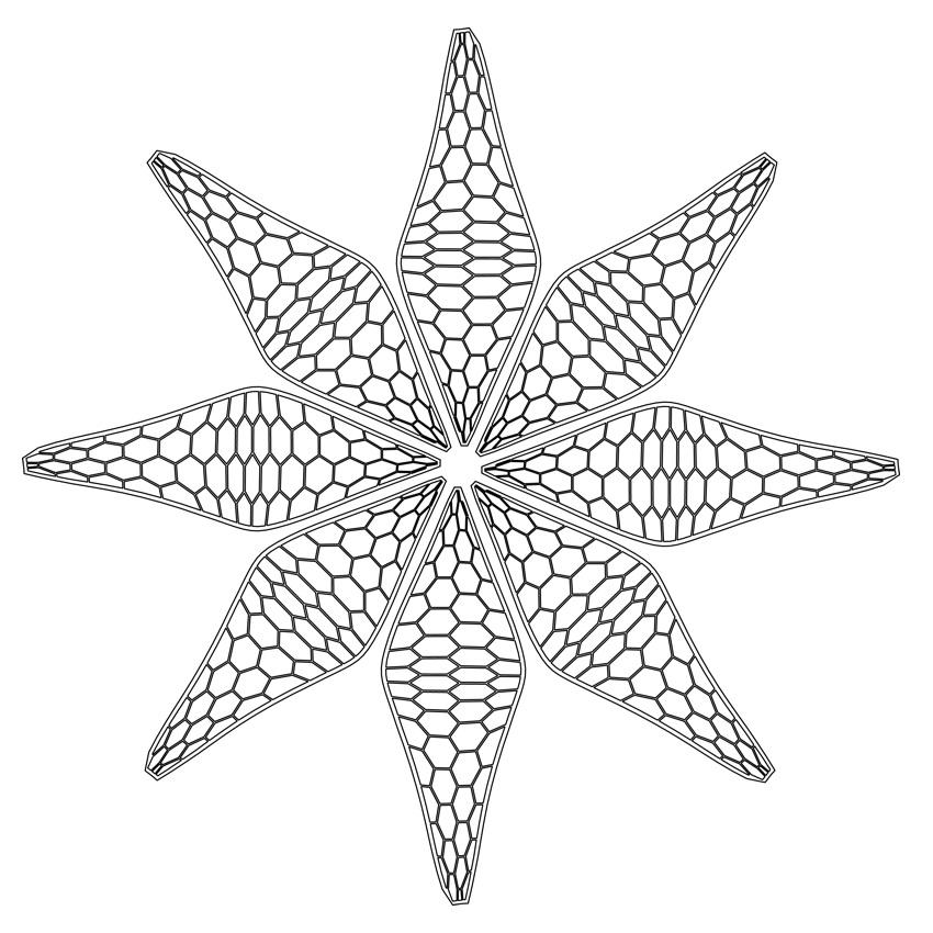 Laser Cut Lattice Flower Decor DXF File