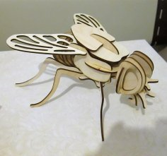Laser Cut Fly 3D Puzzle Free Vector