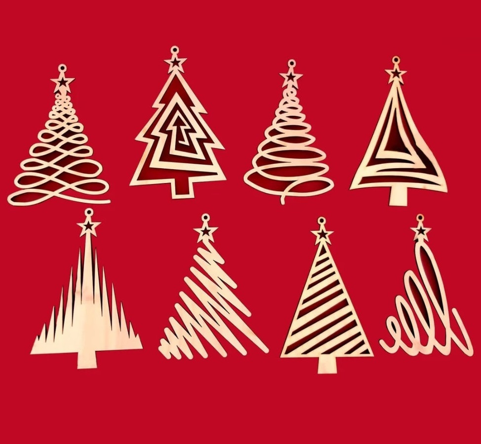 Laser Cut Wooden Christmas Tree Decorations Crafts Free Vector